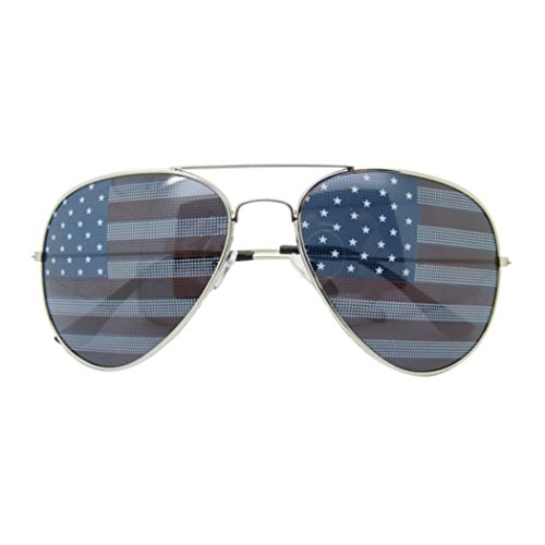TronStore Premium USA American Flag Patriotic Classic Teardrop Aviator Air Force Pilot Metal Frame - Sunglasses Veteran