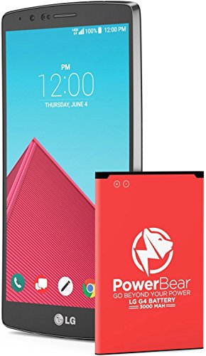 PowerBear LG G4 Battery | 3000mAh Li-Ion Battery for The G4 [US991, H812, H815, AT&T H810, T-Mobile H811, Sprint LS991, Verizon VS986] | LGG4 Spare - Batteries Cell Types Phone