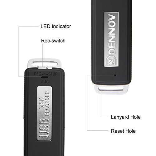 Dennov 8 GB Mini USB Voice Recorder and Flash Drive