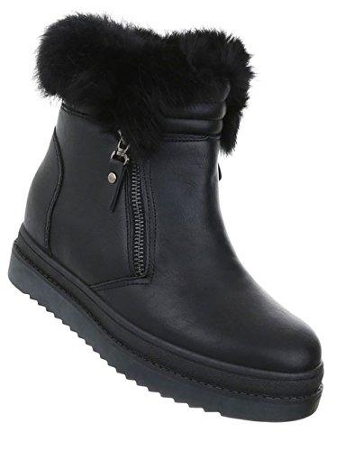 Damen Schuhe Stiefeletten Warm Gefütterte Keil Boots Schwarz