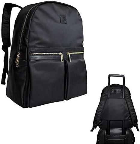 Klott Carry-on Travel Laptop Backpack w Luggage Sleeve. Black Lightweight Underseat Travel Bag Purse for Women