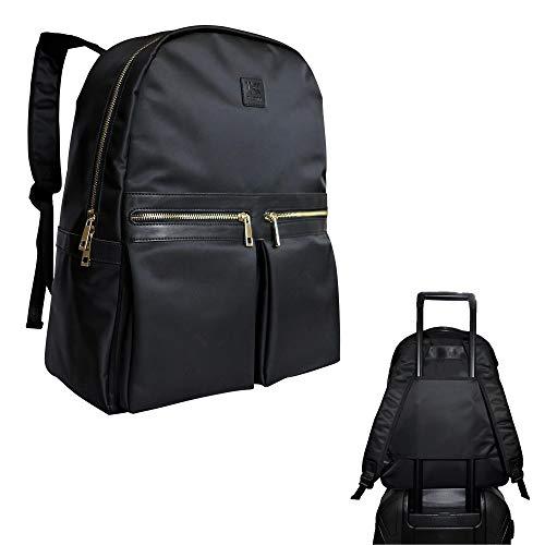Klott Carry-on Travel Laptop Backpack w Luggage Sleeve. Black & Lightweight Underseat Travel Bag/Purse for Women ()