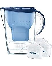BRITA Marella – Jarra de Agua Filtrada con 3 cartuchos MAXTRA+ – Filtro de agua BRITA que reduce la cal y el cloro – Agua filtrada para un sabor excelente – Filtro de agua color azul