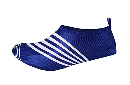 Pictures of Peach Couture Mens Athletic Water Shoes Slip on Quick Drying Aqua Socks (Medium, Blue White) 3