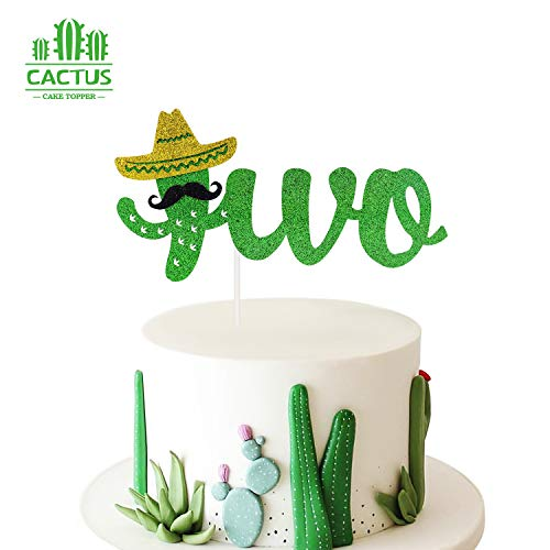 Cactus Two Cake Topper Happy 2nd Birthday Decoration Handmade Green Glitter Fiesta Festive Party Summer Theme Decor for Boy & Girl (Double Sided)