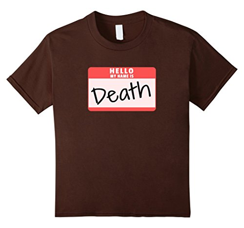 Kids Hello My Name is Death Funny Halloween Death Costume T-Shirt 12 Brown