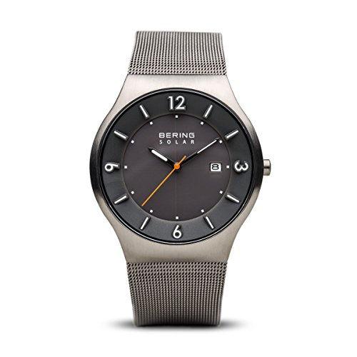 BERING Time 14440-077 Mens Solar Collection Watch with Mesh Band and Scratch Resistant Sapphire Crystal. Designed in Denmark.