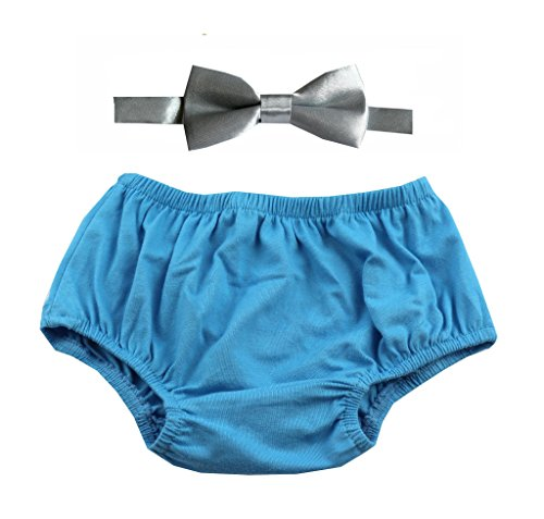 Gentlemen Ties Cake Smash Outfit Boy First Birthday Includes Bloomers and Bow Tie (Blue Bloomer and Gray Satin Bow)
