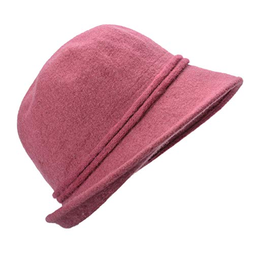 Cloche Soft Lawliet Collapsible Pink Hat Bucket Wool Dark Knit Womens Retro A466 Flower qtYWnat