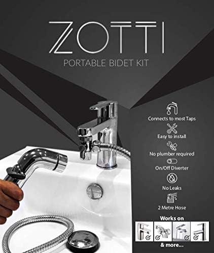 tuyau de 2 m/ètres kit bidet d/éviateur /à 2 voies Cl/é incluse se connecte au mitigeur du robinet Zotti bidet portable de voyage