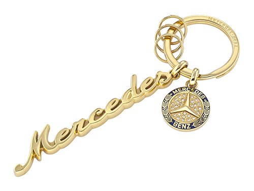 (Mercedes Benz, Key ring, Women, Classi, with Swarovski crystals yellow gold coloured blue, stainless steelrcedes Benz)