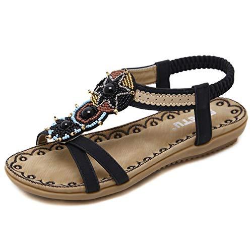 Women Sandals Bohemia Summer Shoes Beach Soft Flats Sandals Woman Casual Shoes,Black,9.5