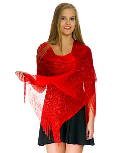 Shawls and Wraps for Evening Dresses, Wedding Shawl Wrap Fringes Scarf for Women Red Petal Rose