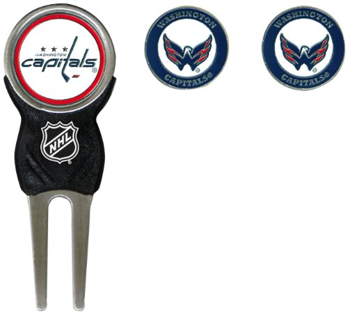 Team Golf NHL Washington Capitals Divot Tool with 3 Golf Ball Markers Pack, Markers are Removable Magnetic Double-Sided Enamel
