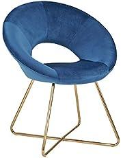 Duhome Krzesło do jadalni, obicie materiałowe (aksamit), krzesło konferencyjne, krzesło dla gości, wyjątkowe wzornictwo, wybór kolorów 439D, kolor: ciemnoniebieski, materiał: aksamit