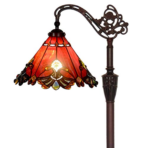 (Bieye L10681 Baroque Tiffany Style Stained Glass Reading Floor Lamp with 13 Inch Wide Handmade Lampshade, Metal Base with Dark Brown Baking Finish, Red, 65 Inch Tall )