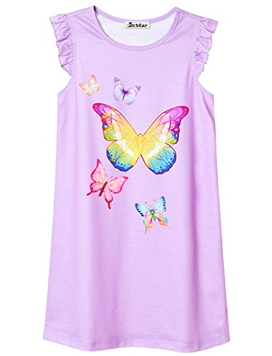 Girl Nightgown Kid Butterfly Nightdress Princess Cute SleepwearTeen Nightshirt Butterflys Girls Cotton Pajamas