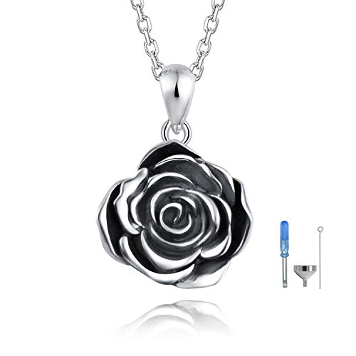 - ACJFA 925 Sterling Silver Rose Flower Cremation Urn Necklace Keepsake Ashes Pendant Jewelry