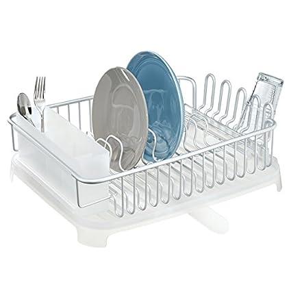 mDesign Escurreplatos para fregadero de aluminio   Escurridor de vajilla  con cesta para cubiertos y con a2137fb300e5