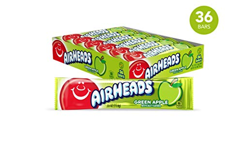 Airheads Candy, Individually Wrapped Bars, Green Apple, Non Melting, Party, 0.55 Ounce (Pack of -