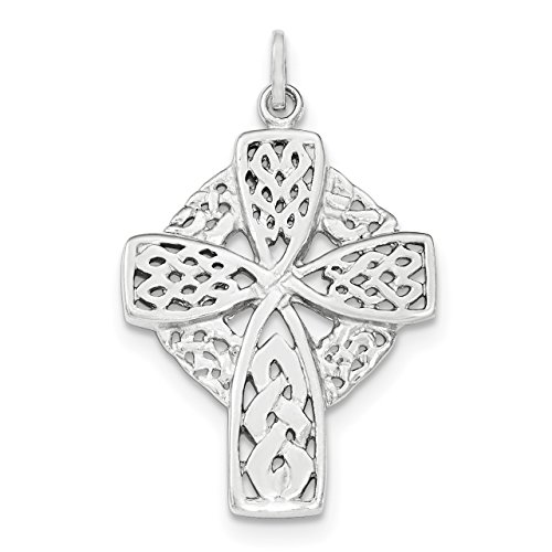 Knotted Polished Celtic Cross Charm in 925 Sterling Silver