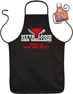 Divertido Sprüche FUN Delantal mitología el asado Grille como un Dios–Barbacoa de protección con mini de delantal