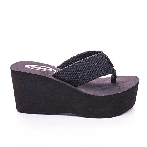 op Sandals Wedge Heels Platform (Black Platform Wedge Heel)