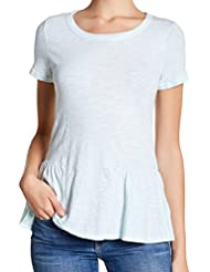 Stateside Short Sleeve Crew Neck Slub Peplum Crop Tee Shirt for Women in Mint