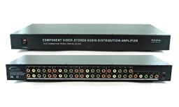 1x8 (1:8) 8-Way Component 5-RCA Video + Stereo Analog R/L Audio Distribution Amplifier Splitter