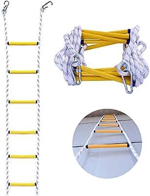 FIREDUXYL Escalera de Emergencia, Portátil Antideslizante Escalera de Cuerda de Seguridad Resistente al Fuego con Ganchos, para Trabajos aéreos, Montañismo al Aire Libre,15m/50ft: Amazon.es: Hogar