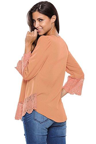 Neue Damen Pfirsich Button Detail Crochet Spitze Trim Bluse Top Club Wear Party Wear Casual Wear Kleidung Größe S UK 8–10EU 36–38