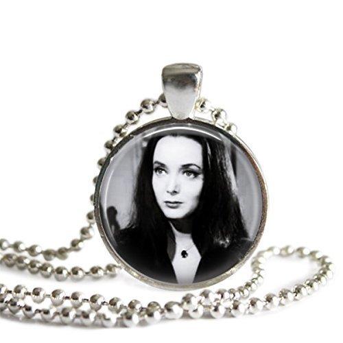Morticia Addams 1 inch Silver Plated Picture Pendant Necklace]()