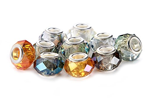 10Pcs Mix Silver Plate FACETED STYLE3 AB COLOR Murano Lampwork European Glass Crystal Charms Beads Spacers Fit Troll Chamilia Carlo Biagi Zable Snake Chain Charm Bracelets. ()