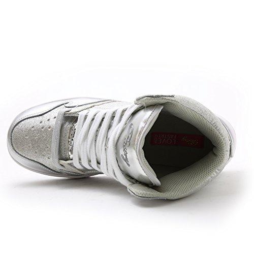 Sneaker High-top In Glitter Glam Pasticcino Per Donna Argento