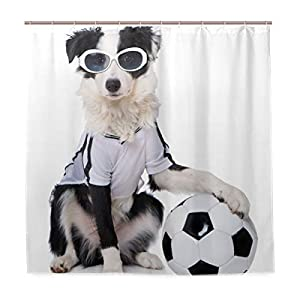 Top Carpenter Border Collie in Soccer Outfit Bath Shower Curtain Liners - 72x72in - 100% Polyester - Waterproof with C-Shaped Curtain Hook Modern Bathroom Decoration 1 Panel 1