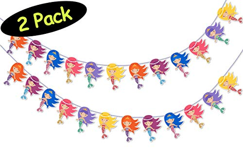 Mermaid Bunting Party Banners // Mermaid Party Supplies // Mermaid Birthday Party Banners // Mermaid Party Decor // Free assembly tool, 2 Pack