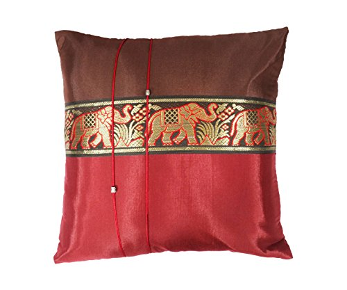 - One Pair Big Elephant Stripe Throw Cushion Cover/Pillow Case Thai Silk for Decorative Sofa, Car and Living Room Size 16 X 16 Inches (Red-Brown)