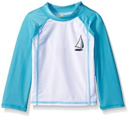 Sol Swim Unisex Baby Sail-Boat Rashguard Top,Teal,12 Months