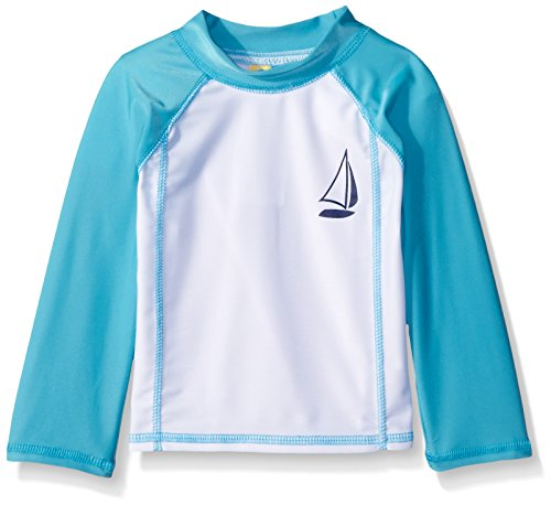 Sol Swim Unisex Little Kid's Sail-Boat Rashguard Top,Teal,6