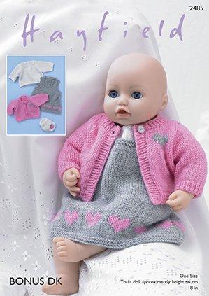 Sirdarhayfield Bonus Dk Knitting Pattern 2485 Baby Dolls Pinafore