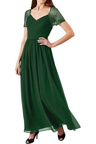 Grape Kurzarm Dunkelgruen 2017 Spitze Festkleid Chiffon Abendkleider Ivydressing Damen Neu Partykleider Lang qZwIfw6t