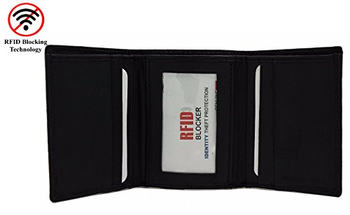 Mens Two Fold Wallet (R.F.I.D Safe Genuine Leather Men's Black Ti-Fold Slim Wallet Identity Theft Protection 7 Vertical Card Slots 2 Bill Compartments [JTC-51305-RF])