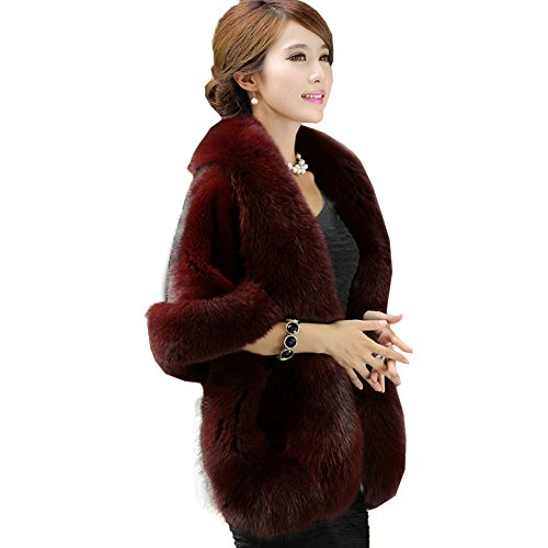 Caracilia Womens Faux Fur Coat Wedding Cape Shawl For Evening Party Scarlet (Free Coat Patterns)