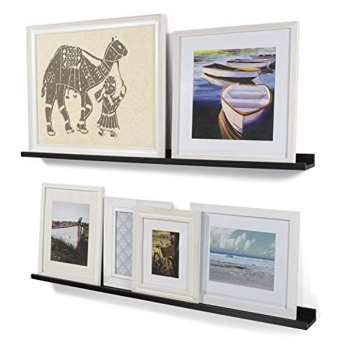 Wallniture Modern Floating Wall Ledge Shelf for Pictures and Frames Black 46 Inch Set of 2 (Ikea Picture Shelf)