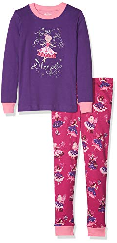 Hatley Girls' Little Organic Cotton Long Sleeve Appliqué Pajama Sets, Fairy Sleeper, 5 Years