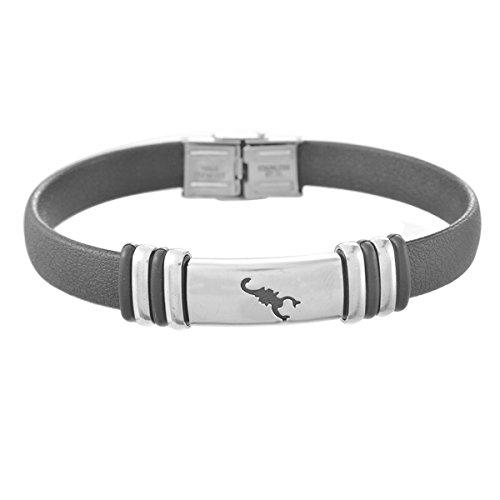 Housweety Neutral Bracelet Stainless Steel Scorpion PU Leather Allergy Free Bangle Bracelet 23.5cm