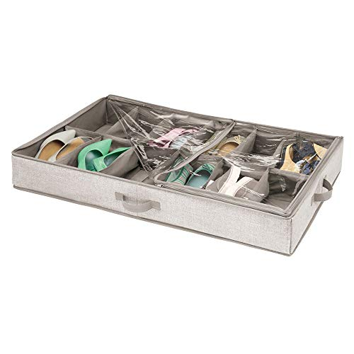 mDesign Fabric Under The Bed Shoe Storage Organizer Containers Bins for Mens, Womens, Kids Sneakers, Flats, Sandals Shoes - 12 Compartments - Textured Print - Linen/Tan