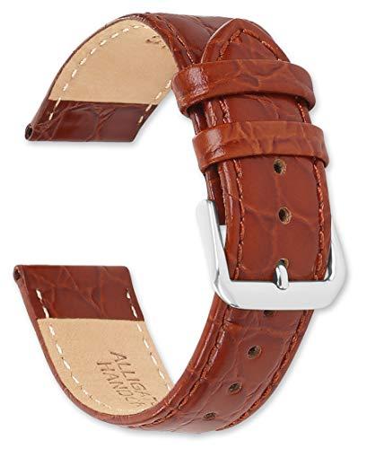 - deBeer Alligator Grain Leather Watch Band - Havana - 15mm - Replacement Watch Strap