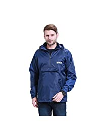 H&C Unisex Raincoat Packable Outdoor Waterproof Hooded Rain Jacket Poncho-navyblue-XL