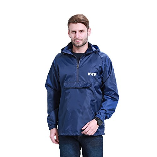 ZDHGLOBAL Men's Women's Lightweight Packable Portable Rain Jacket with Invisiable Hood and Front Pocket for Outdoor Activity XL navyblue